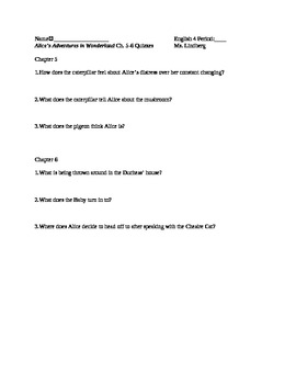 Alice's Adventures in Wonderland Ch. 5-6 Quiz/Reading Chec