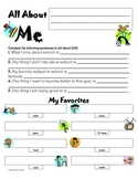 All About Me Activity for Back to School