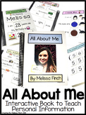 All About Me Interactive Book- Special Ed.
