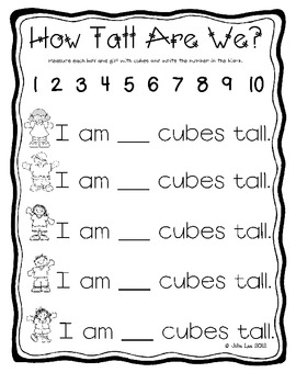 All About Me Math and Literacy Activities
