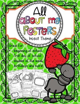 All About Me Posters:  Insect Theme