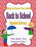 All About Me~Back to School Student Survey