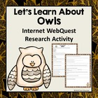 All About Owls Web Quest Reading Research Activity