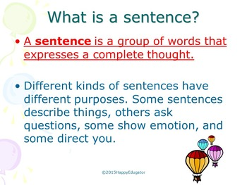 All About Sentences PowerPoint