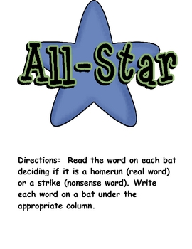 All Star Nonsense/Real Baseball Word Sort