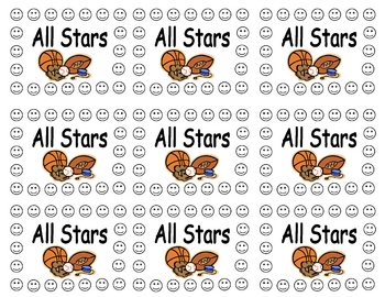 All Star Sports Behavior Punch Card