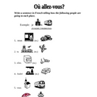 Aller and Places, Transportation Vocabulary Activity