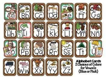 Alphabet Cards Camping Forest Theme (Dots on Chocolate)
