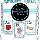 Alphabet Cards Light Blue Polka Dots and Stripes