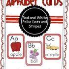 Alphabet Cards Red and White Polka Dots and Stripes
