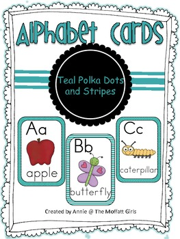 Alphabet Cards Teal Polka Dots and Stripes