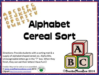 Alphabet Cereal Sorting Mat