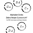 Alphabet Circles Zebra Stripes in Cursive