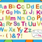 Alphabet Digital Clip Art in Fun Fiesta Colors