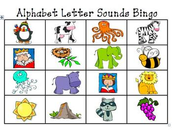 Alphabet Letter and Letter Sounds Bingo Cards