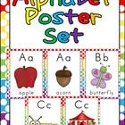 Alphabet Posters- Polka Dot Background- Full-Page and Half
