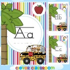 Alphabet Posters Striped Jungle Themed Guided Print Classr