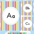 Alphabet Posters Striped Themed Solid Print Back to School