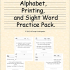 Alphabet, Printing and Sight Word Practice Set
