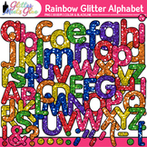 Alphabet: Rainbow Glitter Font Letters Clipart - Upper/Low