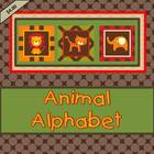 Alphabet Word Wall Cards or Flashcards- Retro Animal Color