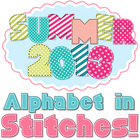 Alphabet in Summer Colors with Stitches and Patterns