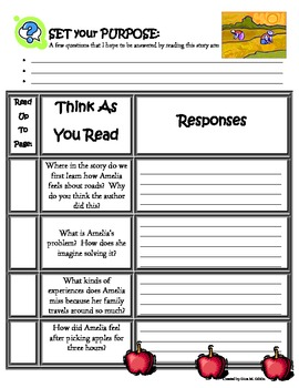 Amelia's Road Reading Guide Response Packet - Without Page
