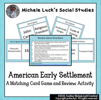America Early Settlement Game Card Review Activity Colonies