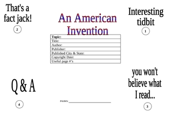 American Inventions Foldable Organization for a Speech