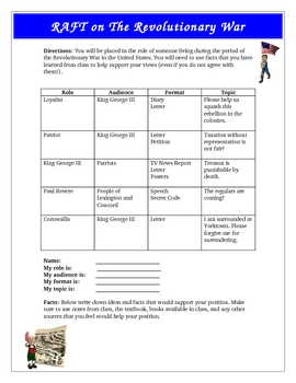 American Revolution Revolutionary War RAFT Activity Common Core