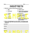 American Revolution Tests and Study Guide