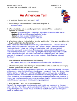 """An American Tail"" movie study guide & Answer Key"