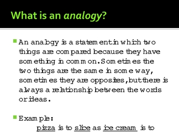 Analogies - Discovering How Ideas Are Related