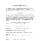 Analogies Mini Lesson