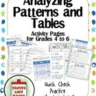 Analyzing Patterns and Tables: Beginning Algebra Skills Activity