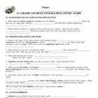 Ancient Civilizations Study Guide & Key - 6th grade