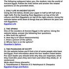 Ancient Egypt Webquest with Answer Key