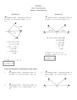 Angle Bisectors Test Recovery Worksheet