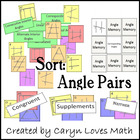 Angles~Parallel Lines Name Sort, Flashcards&Memory Game~Di