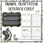 Animal Adaptation Cards Printable Research Project Common Core