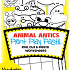 Number Worksheet Games - Animal Antics - Print Play and Paste