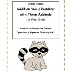 Animal Babies Addition Word Problems with Three Addends fo