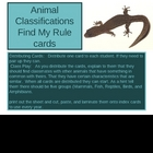 Animal Classifications Find my Rule Kagan Strategy Flashcards