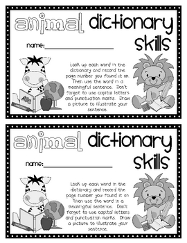 Animal Dictionary Skills