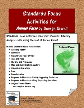 Animal Farm Standards Focus Activity Pack