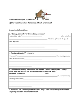 Animal Farm by George Orwell Chapter 2 Activity Packet