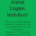 Animal Kingdom Worksheet