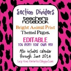 Animal Print Bright Themed Teacher Notebook Dividers w/ Ma