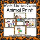 Animal Print Pocket Chart Work Station Cards