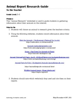Animal Reports: Internet Research Worksheet